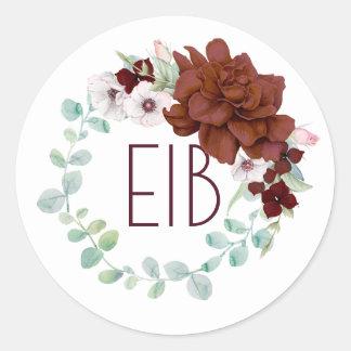 Adesivo Redondo As flores de Borgonha envolvem o casamento