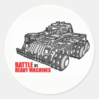Adesivo Redondo As máquinas prontas da batalha projetam
