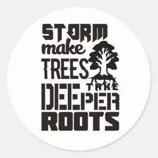 Adesivo Redondo As tempestades fazem árvores tomar umas raizes