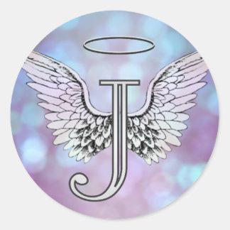 Adesivo Redondo Asas iniciais & halo do anjo do monograma da letra