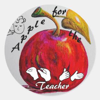 Adesivo Redondo ASL Apple para o professor