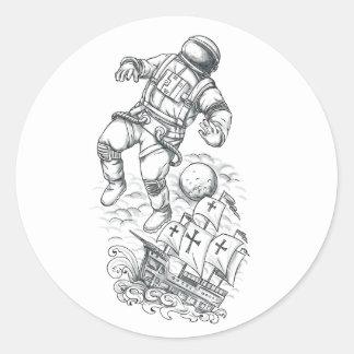 Adesivo Redondo Astronauta Tethered ao tatuagem de Caravel