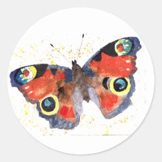 Adesivo Redondo Autocolante com borboleta handgemaltem velho com