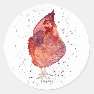 Adesivo Redondo Autocolante com galinha handgemaltem velho com