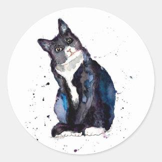 Adesivo Redondo Autocolante com gato handgemalter velho com acordo