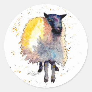 Adesivo Redondo Autocolante com ovelha handgemaltem velho com