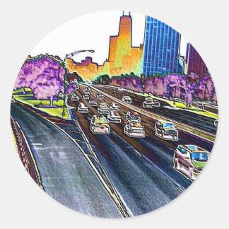 Adesivo Redondo Autoestrada que conduz na folha colorida