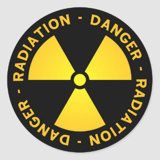 Adesivo Redondo Aviso amarelo da radiação