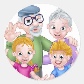 Adesivo Redondo Avós e netos dos desenhos animados