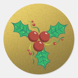 Adesivo Redondo Azevinho do Natal do brilho do ouro