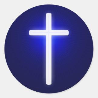 Adesivo Redondo Azuis marinhos   cristãos transversais de