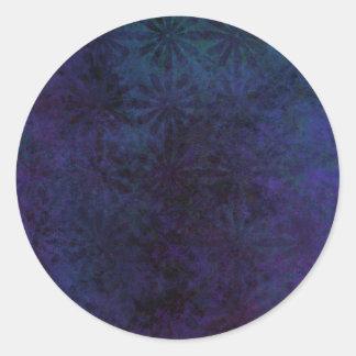 Adesivo Redondo Azul & abstrato do roxo, arte suja de Digitas