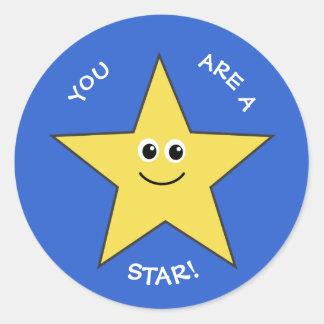 Adesivo Redondo Azul amarelo do elogio dos professores da estrela