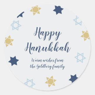 Adesivo Redondo Azul bonito da estrela de David   e ouro Hanukkah
