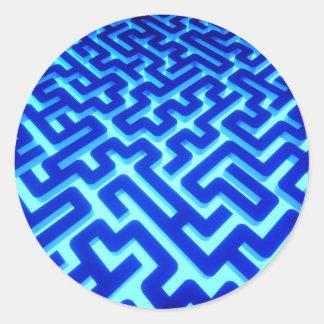 Adesivo Redondo Azul do labirinto