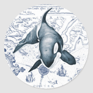 Adesivo Redondo Azul do mapa da orca