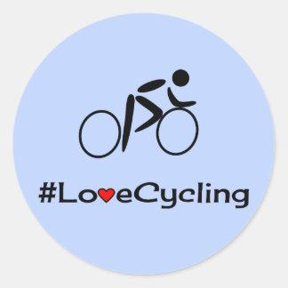 Adesivo Redondo Azul do subtítulo do ciclismo do amor