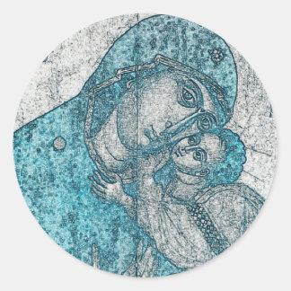 Adesivo Redondo Azul do vintage do Jesus Cristo da Virgem Maria e