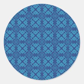 Adesivo Redondo Azul em Patttern geométrico floral azul