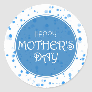 Adesivo Redondo Azul feliz do abstrato do dia das mães