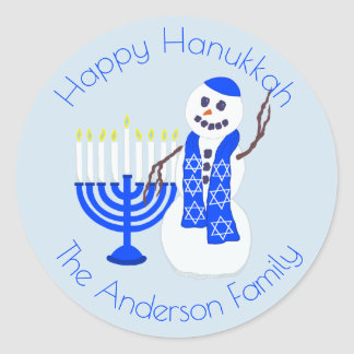Adesivo Redondo Azul feliz e branco de Hanukkah do boneco de neve