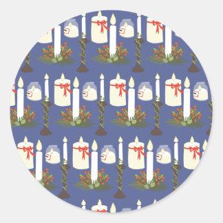 Adesivo Redondo Azul festivo do impressão da vela