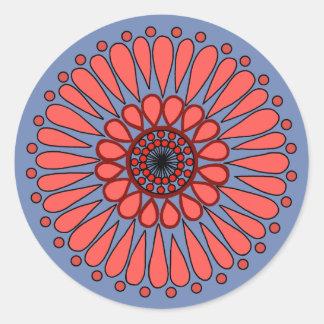 Adesivo Redondo Azul - mandala dobro coral do girassol