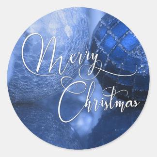 Adesivo Redondo Azul, prata & Feliz Natal branco cumprimentando