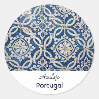 Adesivo Redondo Azulejo do português do vintage