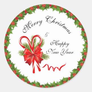 Adesivo Redondo Bagas Natal do azevinho e bastões de doces