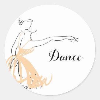Adesivo Redondo Bailarina no pêssego macio