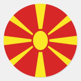 Adesivo Redondo Baixo custo! Bandeira de Macedónia