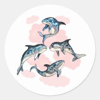 Adesivo Redondo Baleias