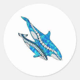 Adesivo Redondo Baleias tribais da orca