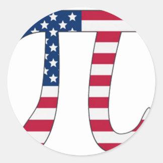 Adesivo Redondo Bandeira americana do dia do Pi, símbolo do pi