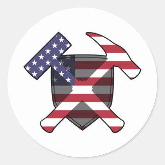 Adesivo Redondo Bandeira americana do protetor do martelo da rocha