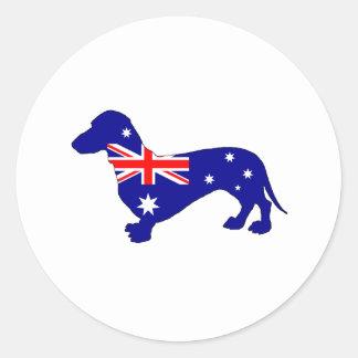 Adesivo Redondo Bandeira australiana - Dachshund