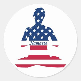 Adesivo Redondo Bandeira da ioga do americano da meditação dos EUA