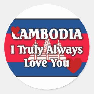 Adesivo Redondo Bandeira de Cambodia