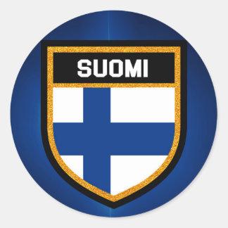 Adesivo Redondo Bandeira de Finlandia