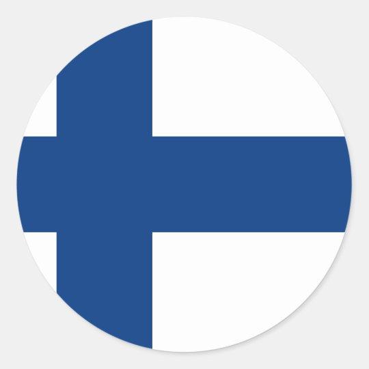 Adesivo Redondo Bandeira de Finlandia (lippu de Suomen, flagga de