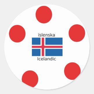 Adesivo Redondo Bandeira de Islândia e design islandês da língua