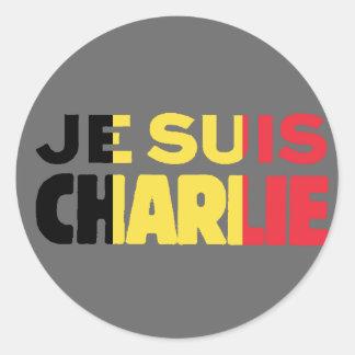 Adesivo Redondo Bandeira de Je Suis Charlie-Eu am Charlie-Bélgica