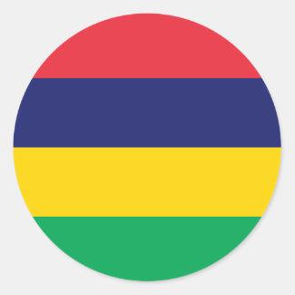 Adesivo Redondo Bandeira de Maurícia