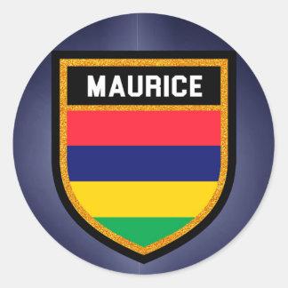 Adesivo Redondo Bandeira de Maurício