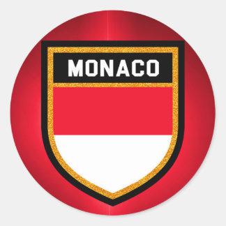 Adesivo Redondo Bandeira de Monaco