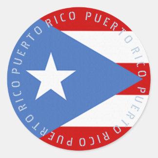Adesivo Redondo Bandeira de Puerto Rico