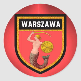 Adesivo Redondo Bandeira de Varsóvia
