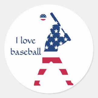 Adesivo Redondo Bandeira do americano do basebol de América