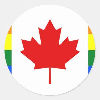 Adesivo Redondo Bandeira do arco-íris de Canadá